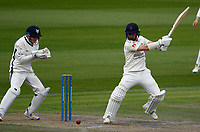 28th May 2021; Emirates Old Trafford, Manchester, Lancashire, England; County Championship Cricket, Lancashire versus Yorkshire, Day 2; Josh Bohannon of Lancashire plays the ball away to the off side