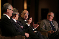 Montreal, canada, June 1st 2015.<br /> <br /> Pierre Gabriel Cote, President and CEO, Investissement Quebec (L).<br /> Jean-Rene Halde, President and CEO, Business Development Bank of Canada (M-L),<br /> Christian Dube , Executive Vice-President, Quebec, Caisse de Depot et Placement du Quebec (M-R) and<br /> Jean-Philippe Decarie, Business columnist, La Presse <br /> take part in a debate about Quebec's economy, at the Canadian Club of Montreal, June 1st 2015.<br /> <br /> Photo : Pierre Roussel - Agence Quebec Presse