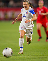 CARSON, CA - FEBRUARY 07: Priscila Chinchilla #14 of Costa Rica dribble the ball during a game between Canada and Costa Rica at Dignity Health Sports Complex on February 07, 2020 in Carson, California.