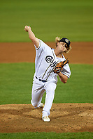 Kane County Cougars relief pitcher Breckin Williams (44) delivers a pitch during a game against the South Bend Cubs on July 23, 2018 at Northwestern Medicine Field in Geneva, Illinois.  Kane County defeated South Bend 8-5.  (Mike Janes/Four Seam Images)