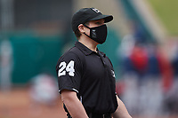 Umpire Greg Roemer prior to the minor league baseball game between the Rome Braves and the Greensboro Grasshoppers at First National Bank Field on May 16, 2021 in Greensboro, North Carolina. (Brian Westerholt/Four Seam Images)