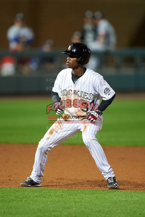 Salt River Rafters outfielder Raimel Tapia (37) leads off second during an Arizona Fall League game against the Glendale Desert Dogs on October 22, 2015 at Salt River Fields at Talking Stick in Scottsdale, Arizona.  Glendale defeated Salt River 7-5.  (Mike Janes/Four Seam Images)