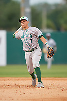Daytona Tortugas shortstop Luis Gonzalez (7) throws to first base during a game against the Florida Fire Frogs on April 7, 2018 at Osceola County Stadium in Kissimmee, Florida.  Daytona defeated Florida 4-3 in a six inning rain shortened game.  (Mike Janes/Four Seam Images)