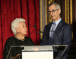 "Joy Abbott and Jerry Mitchell during The ""Mr. Abbott"" Award 2019 Presentation at The Metropolitan Club on 3/25/2019 in New York City."