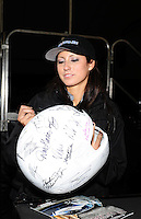 Oct. 2, 2011; Mohnton, PA, USA: NHRA funny car driver Leah Pruett signs autographs during the Auto Plus Nationals at Maple Grove Raceway. Mandatory Credit: Mark J. Rebilas-