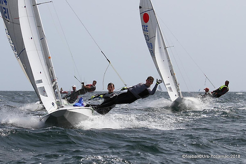 Barry McCartin and Conor Kinsella competing in the Fireball World Championships in Carnac, France in 2018