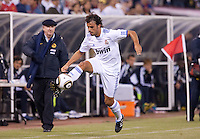 Pedro Leon keeps the ball in play. Real Madrid defeated Club America 3-2 at Candlestick Park in San Francisco, California on August 4th, 2010.