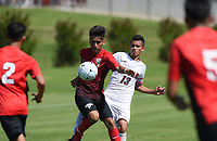 NWA Democrat-Gazette/CHARLIE KAIJO Russellville High School Kevin Sanchez (7) leads the ball as Siloam Springs High School Gerson Matias (13) covers during the Class 5A State Soccer Tournament championship, Friday, May 18, 2019 at Razorback Field in Fayetteville. Russellville High School defeated Siloam Springs 1-0