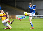 Motherwell v St Johnstone…20.02.21   Fir Park   SPFL<br />Callum Booth is charged down by Robbie Crawford<br />Picture by Graeme Hart.<br />Copyright Perthshire Picture Agency<br />Tel: 01738 623350  Mobile: 07990 594431