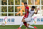Torres Sartori Igor (L) of Wofoo Tai Po fights for the ball with Pablo Jose Gallardo Zurera (R) of Dreams FC during the Dreams FC vs Wofoo Tai Po match of the week one Premier League match at the Aberdeen Sports Ground on 26 August 2017 in Hong Kong, China. Photo by Yu Chun Christopher Wong / Power Sport Images
