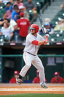 Louisville Bats right fielder Scott Schebler (12) at bat during a game against the Buffalo Bisons on June 20, 2016 at Coca-Cola Field in Buffalo, New York.  Louisville defeated Buffalo 4-1.  (Mike Janes/Four Seam Images)