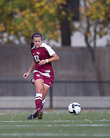 Florida State forward/defender Breezy Hupp (12) passes the ball. Florida State University defeated Boston College, 1-0, at Newton Soccer Field, Newton, MA on October 31, 2010.
