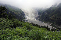 The Hailuogou glacier in western Sichuan Province, China. As a result of rising temperatures on the Tibetan Plateau, the Hailuogou glacier has retreated over 2 km during the 20th century alone. Since the Little Ice Age, studies have revealed that the total monsoonal glacier coverage in the southeast of the Tibetan Plateau has decreased by as much as 30 percent, causing alarm in scientific circles.