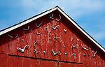Barn front on the Battenkill River outside Manchester, Vermont.