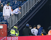 Foxborough, Massachusetts - April 6, 2018: In a Major League Soccer (MLS) match, New England Revolution (blue/white) defeated,4-0, Montreal Impact (white), at Gillette Stadium.<br /> Red Card: Saphir Taider
