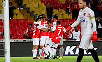 BOGOTÁ - COLOMBIA, 08-02-2020:Fabian Sambueza del Independiente Santa Fe celebra después de anotar un gol de su equipo partido entre Independiente Santa Fe y Atlético Junior por la fecha 4 de la Liga BetPlay I 2020 jugado en el estadio Nemesio Camacho El Campín de la ciudad de Bogotá. / Fabian Sambueza of Independiente Santa Fe celebrates after scoring the  goal of his team during match between Independiente Santa Fe and Atletico Junior for the date 4 as part of BetPlay League I 2020 played at Nemesio Camacho El Campin stadium in Bogota. Photo: VizzorImage / Felipe Caicedo / Staff