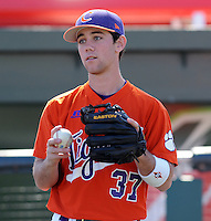 Clemson infielder Kevin Caughman (37) prior to a game between the Clemson Tigers and South Carolina Gamecocks Saturday, March 6, 2010, at Fluor Field at the West End in Greenville, S.C. Photo by: Tom Priddy/Four Seam Images