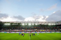Sunday 9th November 2014<br /> Pictured: Players officials  and fans observe a minutes silence at the Libery Stadium <br /> Re: Barclays Premier League Swansea City v Arsenal at the Liberty Stadium, Swansea, Wales,UK