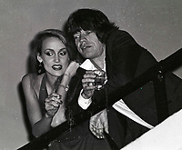 Jagger Hall6838.JPG<br /> New York, NY 1978 FILE PHOTO<br /> Mick Jagger, Jerry Hall<br /> Studio 54<br /> Digital photo by Adam Scull-PHOTOlink.net<br /> ONE TIME REPRODUCTION RIGHTS ONLY<br /> NO WEBSITE USE WITHOUT AGREEMENT<br /> 718-487-4334-OFFICE  718-374-3733-FAX