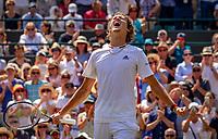London, England, 6 th. July, 2018, Tennis,  Wimbledon, Man's singel third round, Alexander Zverev (GER) celebrates his win over Fritz (USA)<br /> Photo: Henk Koster/tennisimages.com