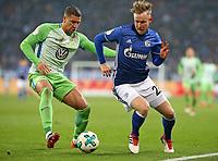 07.02.2018, Football DFB Pokal 2017/2018,   FC Schalke 04 - VfL Wolfsburg, in VELTINS-Arena Gelsenkirchen.  Jeffrey Bruma (Wolfsburg)  -  Cedric Teuchert (Schalke)  *** Local Caption *** © pixathlon<br /> <br /> +++ NED + SUI out !!! +++<br /> Contact: +49-40-22 63 02 60 , info@pixathlon.de