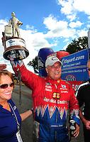Aug. 21, 2011; Brainerd, MN, USA: NHRA funny car driver Johnny Gray celebrates after winning the Lucas Oil Nationals at Brainerd International Raceway. Mandatory Credit: Mark J. Rebilas-
