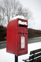 A snow covered mail box pictured in the Swansea Valley village of Coelbren, South Wales.