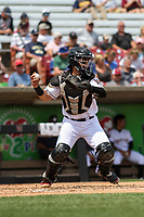 Wisconsin Timber Rattlers catcher Kekai Rios (10) throws down to second base between innings during a game against the South Bend Cubs on July 21, 2021 at Neuroscience Group Field at Fox Cities Stadium in Grand Chute, Wisconsin.  (Brad Krause/Four Seam Images)