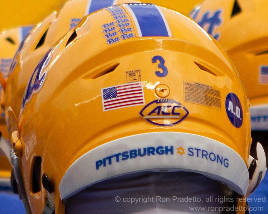 Throwback Pitt football helmet. The Pitt Panthers defeated the Virginia Tech Hokies 52-22 on November 10, 2018 at Heinz Field in Pittsburgh, Pennsylvania.