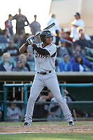 Gabriel Quintana (15) of the Lake Elsinore Storm bats during a game against the Lancaster JetHawks at The Hanger on May 9, 2015 in Lancaster, California. Lancaster defeated Lake Elsinore, 3-1. (Larry Goren/Four Seam Images)