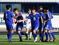 NWA Democrat-Gazette/CHARLIE KAIJO Rogers High School players react after a score during a soccer game, Friday, April 26, 2019 at  Whitey Smith Stadium at Rogers High School in Rogers.