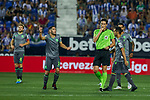 Real Sociedad's Joseba Zaldua have words with the referree during La Liga match. August 24, 2018. (ALTERPHOTOS/A. Perez Meca)