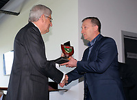 Pictured: Club chairman Huw Jenkins (R) is handed over an award by Swansea University vice chancellor Richard B Davies Tuesday 04 April 2017<br /> Re: Official opening of the Fairwood Training Complex of Swansea City FC, Wales, UK