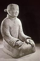 China:  Kneeling Woman, terracotta.  Chin Dynasty, 221-207 B.C.