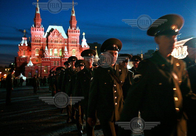 Russian soldiers march on the Red Square after guarding it during the Russia Day celebrations. © Justin Jin