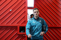 Andy King of Swansea City arrives at Old Trafford prior to the Premier League match between Manchester United and Swansea City at the Old Trafford, Manchester, England, UK. Saturday 31 March 2018