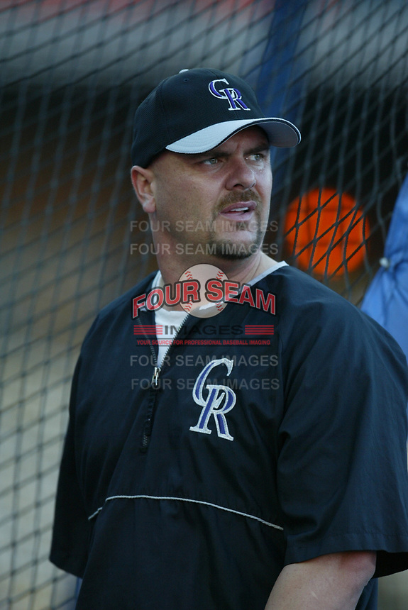 Larry Walker of the Colorado Rockies during a 2003 season MLB game at Dodger Stadium in Los Angeles, California. (Larry Goren/Four Seam Images)
