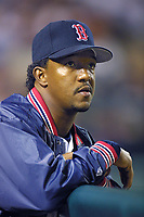 Pedro Martinez of the Boston Red Sox during a 2001 season MLB game at Angel Stadium in Anaheim, California. (Larry Goren/Four Seam Images)
