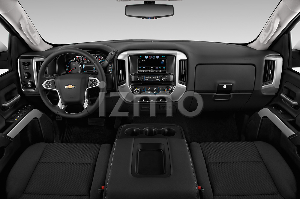 Stock photo of straight dashboard view of a 2018 Chevrolet Silverado 2500HD LT 4WD Crew Cab 4 Door Pick Up
