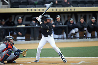Shane Muntz (11) of the Wake Forest Demon Deacons at bat against the Illinois Fighting Illini at David F. Couch Ballpark on February 16, 2019 in  Winston-Salem, North Carolina.  The Fighting Illini defeated the Demon Deacons 5-2. (Brian Westerholt/Four Seam Images)