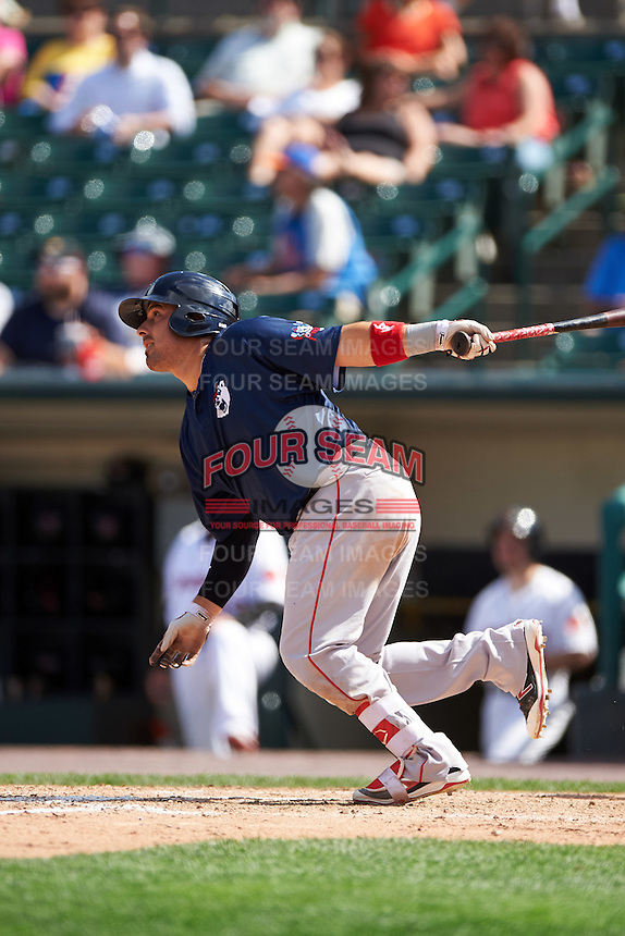 Pawtucket Red Sox catcher Ali Solis (3) at bat during a game against the Rochester Red Wings on June 29, 2016 at Frontier Field in Rochester, New York.  Pawtucket defeated Rochester 3-2.  (Mike Janes/Four Seam Images)