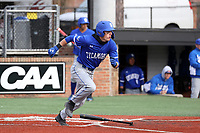 ELON, NC - FEBRUARY 28: Jordan Schaffer #1 of Indiana State University runs after hitting the ball during a game between Indiana State and Elon at Walter C. Latham Park on February 28, 2020 in Elon, North Carolina.