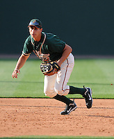Infielder Ryan Fisher (21) of the Greensboro Grasshoppers, Class A affiliate of the Florida Marlins, prior to a game against the Greenville Drive on April 26, 2011, at Fluor Field at the West End in Greenville, South Carolina. (Tom Priddy/Four Seam Images)