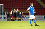 St Johnstone v Partick Thistle…08.08.17… McDiarmid Park.. Betfred Cup<br />Hands on hips for Richie Foster as Chris Erskine celebrates scoring Thistle's third goal in the background<br />Picture by Graeme Hart.<br />Copyright Perthshire Picture Agency<br />Tel: 01738 623350  Mobile: 07990 594431