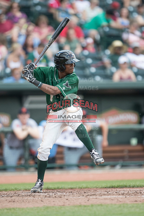 Great Lakes Loons shortstop Errol Robinson (8) at bat against the Bowling Green Hot Rods during the Midwest League baseball game on June 4, 2017 at Dow Diamond in Midland, Michigan. Great Lakes defeated Bowling Green 11-0. (Andrew Woolley/Four Seam Images)