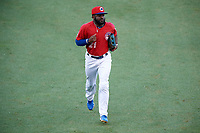 Buffalo Bisons left fielder Dwight Smith Jr. (21) jogs off the field during a game against the Lehigh Valley IronPigs on June 23, 2018 at Coca-Cola Field in Buffalo, New York.  Lehigh Valley defeated Buffalo 4-1.  (Mike Janes/Four Seam Images)
