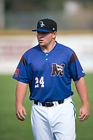 Missoula Osprey third baseman Buddy Kennedy (24) before a Pioneer League game against the Orem Owlz at Ogren Park Allegiance Field on August 19, 2018 in Missoula, Montana. The Missoula Osprey defeated the Orem Owlz by a score of 8-0. (Zachary Lucy/Four Seam Images)