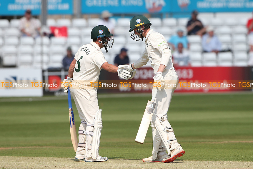Steven Mullaney of Nottinghamshire congratulates Lyndon James (R) on reaching his 50 during Essex CCC vs Nottinghamshire CCC, LV Insurance County Championship Group 1 Cricket at The Cloudfm County Ground on 3rd June 2021