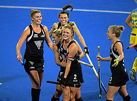The Black Sticks team celebrate their equaliser during the women's match between NZ Black Sticks and Australia Hockeyroos at the 2017 Hawkes Bay Cup tournament at Hawkes Bay Sports Park in Hastings, New Zealand on Thursday, 6 April 2017. Photo: Dave Lintott / lintottphoto.co.nz