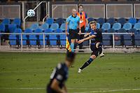 SAN JOSE, CA - OCTOBER 07: Jackson Yueill #14 of San Jose Earthquakes kicks the ball during a game between Vancouver Whitecaps and San Jose Earthquakes at Earthquakes Stadium on October 07, 2020 in San Jose, California.
